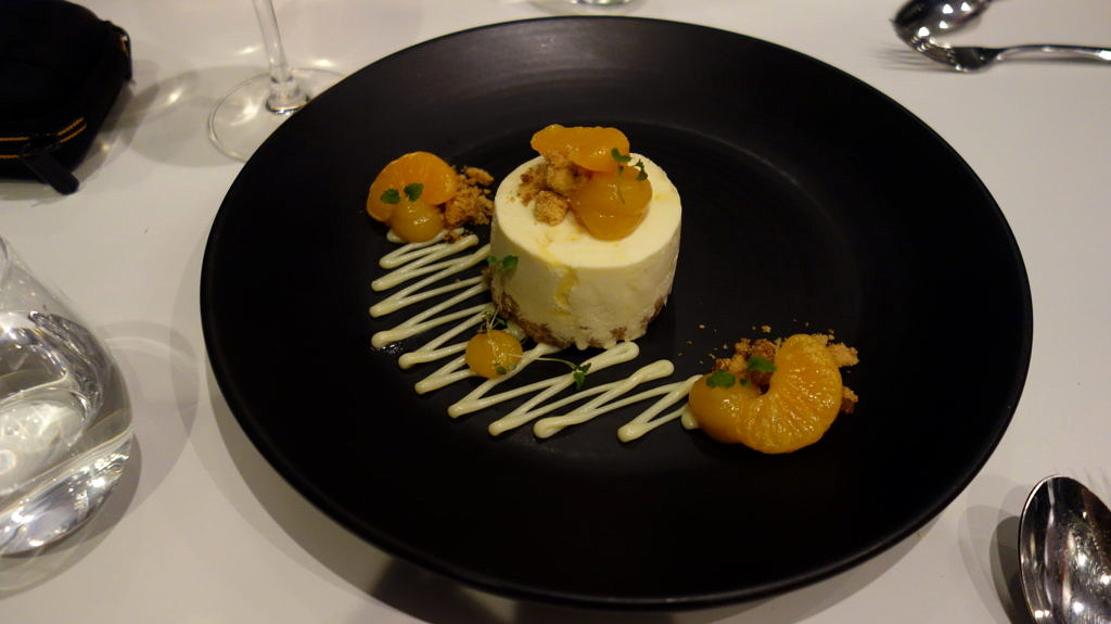 white chocolate cheesecake, poached clementine